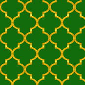 Gold and Green Quatrefoil
