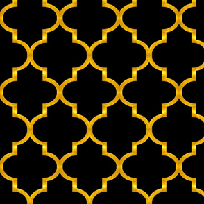 Black and Gold Quatrefoil