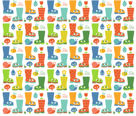Happy_wellies fabric by josie_tortoise on Spoonflower - custom fabric