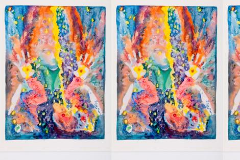 """Supplication/Inspiration/Adoration"" silk painting copyright 2014 Magi Hernandez"