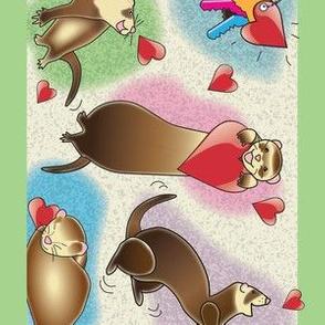 Ferrets Dance Wallpaper Border - Green Border
