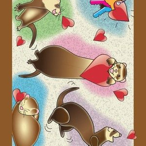 Ferrets Dance Wallpaper Border - Brown Band