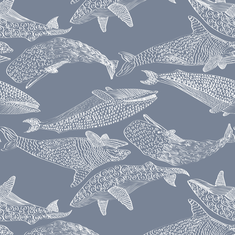 Whales in Soft Blue fabric by mag-o on Spoonflower - custom fabric