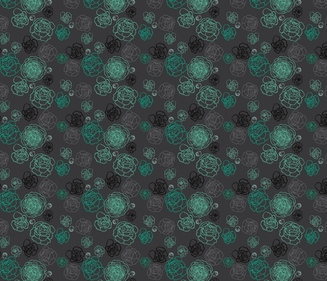 Peonies 2 - - Aqua fabric by thickblackoutline on Spoonflower - custom fabric