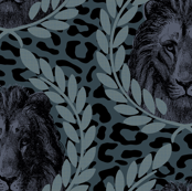 Lion on leopard blue