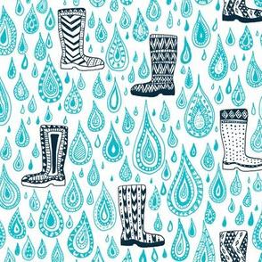 Gumboots in the rain