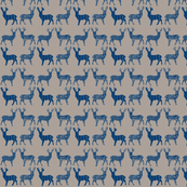 Navy Blue Meadow Deer on Gray