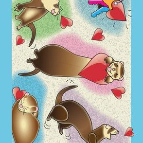 Ferrets Dance Wallpaper Border - Blue Band