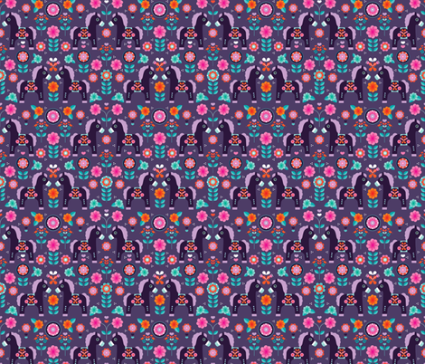 Matryoshka dala pony folklore horse print fabric by littlesmilemakers on Spoonflower - custom fabric