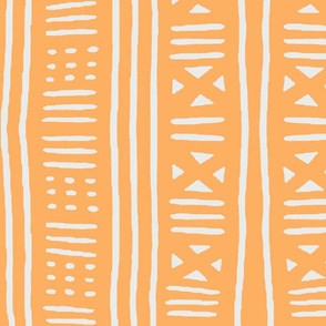 Apricot and white woven stripe