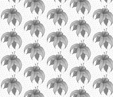 bwlilliesdots fabric by tiffany_r on Spoonflower - custom fabric
