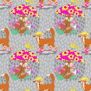 Foxes in Galoshes - Pink and Gray