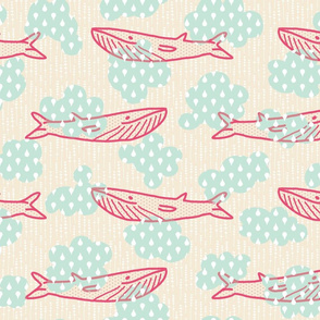 Candy Whales in Minty Skies