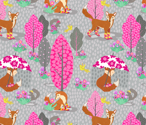 Foxes in Galoshes  fabric by shellypenko on Spoonflower - custom fabric