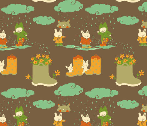Boots and bunnies fabric by fra on Spoonflower - custom fabric