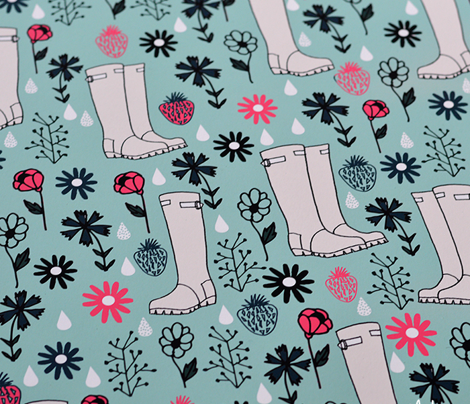 Springtime Wellies - pale turquoise/french rose/parisian blue by Andrea Lauren