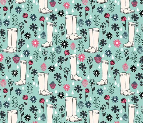 Springtime Wellies - pale turquoise/french rose/parisian blue by Andrea Lauren fabric by andrea_lauren on Spoonflower - custom fabric