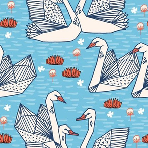 swans // geometric swans pastel blue pond water lily lilies girls sweet birds
