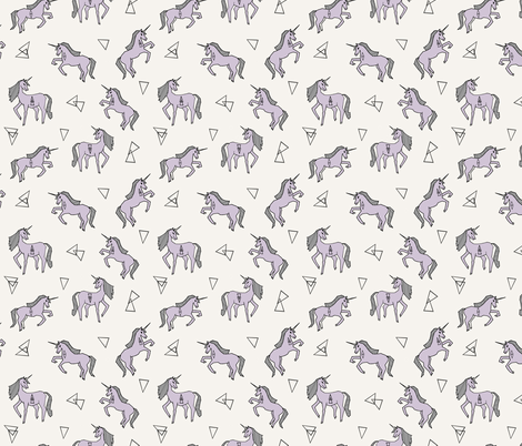 Unicorn Love - Lavender (Smaller) by Andrea Lauren fabric by andrea_lauren on Spoonflower - custom fabric