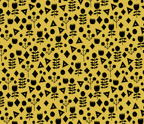 Geometric Flowers - Mustard/Black by Andrea Lauren fabric by andrea_lauren on Spoonflower - custom fabric