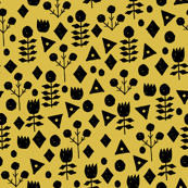 Geometric Flowers - Mustard/Black by Andrea Lauren