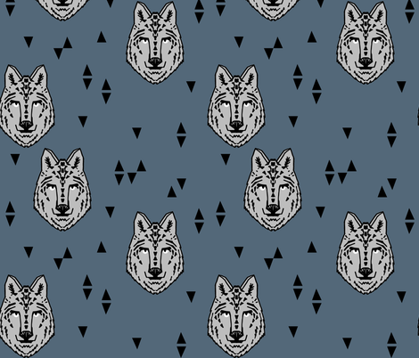Wolf - Payne's Gray by Andrea Lauren fabric by andrea_lauren on Spoonflower - custom fabric