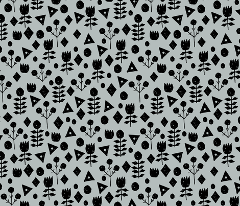 Geometric Flowers - Slate/Black by Andrea Lauren fabric by andrea_lauren on Spoonflower - custom fabric