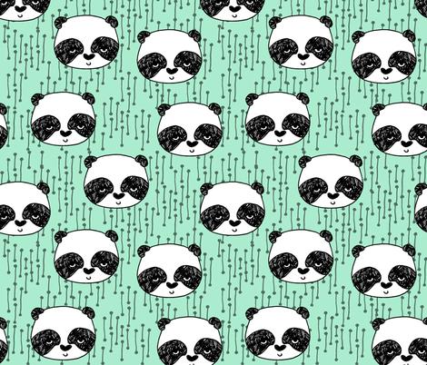 Panda - Pistachio by Andrea Lauren fabric by andrea_lauren on Spoonflower - custom fabric