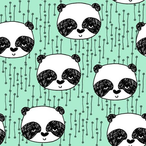 panda // mint bright mint panda head cute scandi illustrated panda face