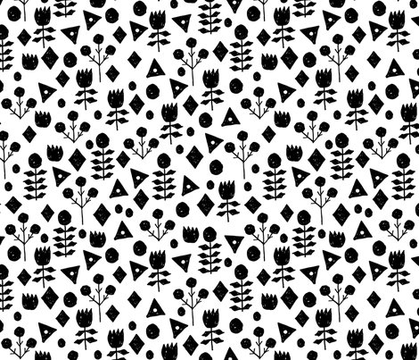Geometric Flowers - White/Black by Andrea Lauren fabric by andrea_lauren on Spoonflower - custom fabric