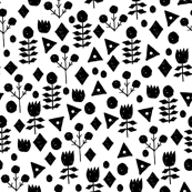 Geometric Flowers - White/Black by Andrea Lauren
