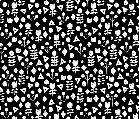 flowers // floral flowers wallpaper black and white fabric by andrea_lauren on Spoonflower - custom fabric