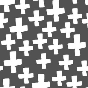 Swiss Crosses - Charcoal/White by Andrea Lauren