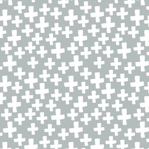 Swiss Crosses - Slate Grey/White by Andrea Lauren