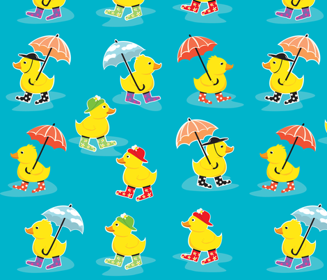 DuckyRainDay fabric by amybiggers on Spoonflower - custom fabric