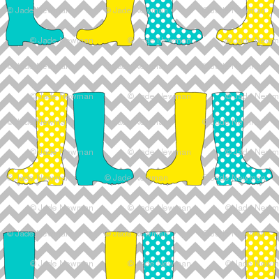 Wonderful Welly Boots on Chevron