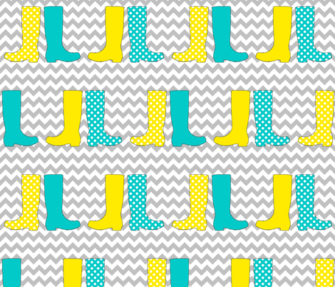 Wonderful Welly Boots on Chevron fabric by lovelyjubbly on Spoonflower - custom fabric