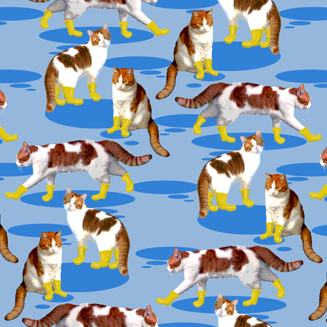 Puss in Wellies fabric by eclectic_house on Spoonflower - custom fabric