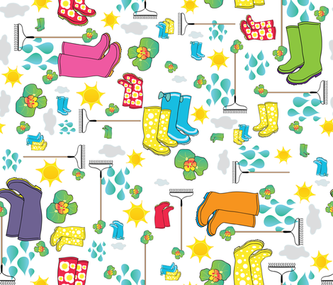 wellies time april showers fabric by baleandtwine on Spoonflower - custom fabric