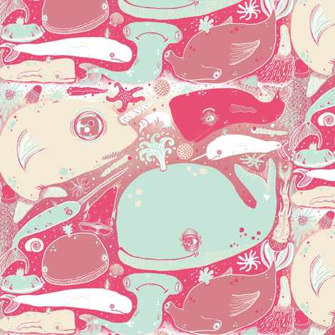 Whales fabric by amy_g on Spoonflower - custom fabric
