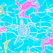 Crabs & Turtles on Turquoise Water