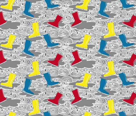rain with wellies fabric by zapi on Spoonflower - custom fabric