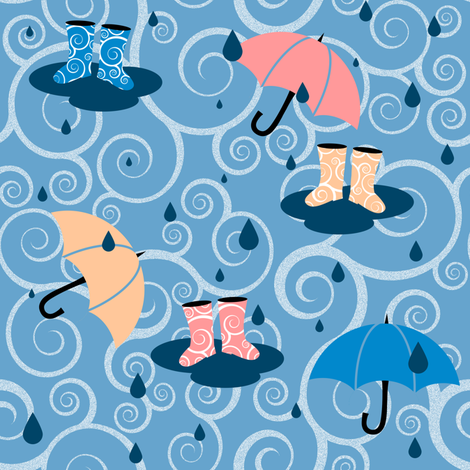 If It Weren't for your Gumboots - Blue fabric by shelleymade on Spoonflower - custom fabric