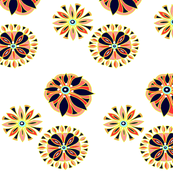Navy Flowers With Yellow