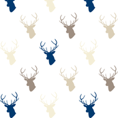 Navy Cream Taupe Deer Silhouettes