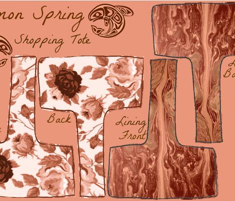 SALMON SPRING SHOPPING TOTE fabric by bluevelvet on Spoonflower - custom fabric