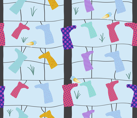 Wellies (Gumboots) hanging from the fence fabric by madex on Spoonflower - custom fabric