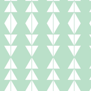White Tribal Triangles on Mint