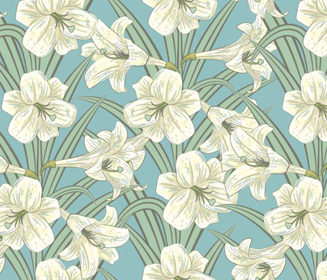 Blue Lilies  fabric by diane555 on Spoonflower - custom fabric