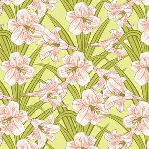 Lilies In Pink And Green
